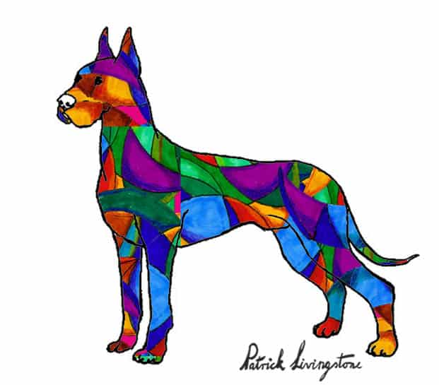 Great dane drawing colored dark glass