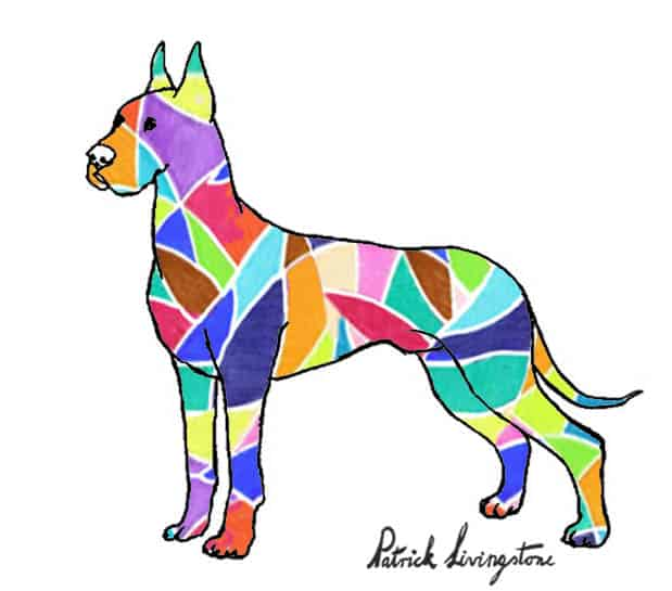 Great dane drawing colored diamonds