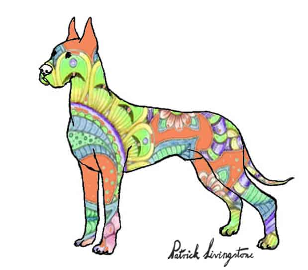Great dane drawing colored paisley green