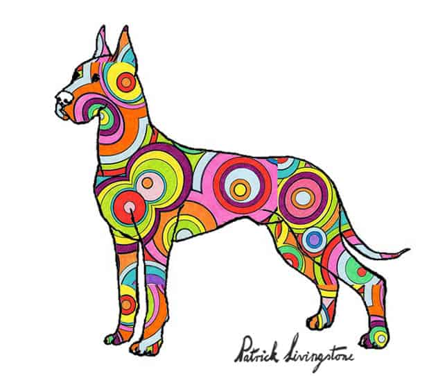 Great dane drawing colored small circles