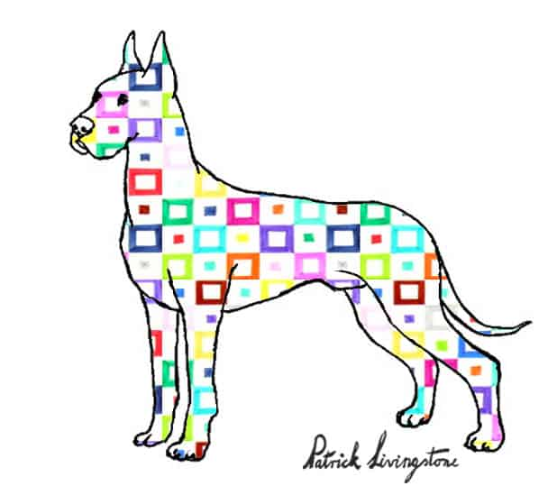 Great dane drawing colored squares