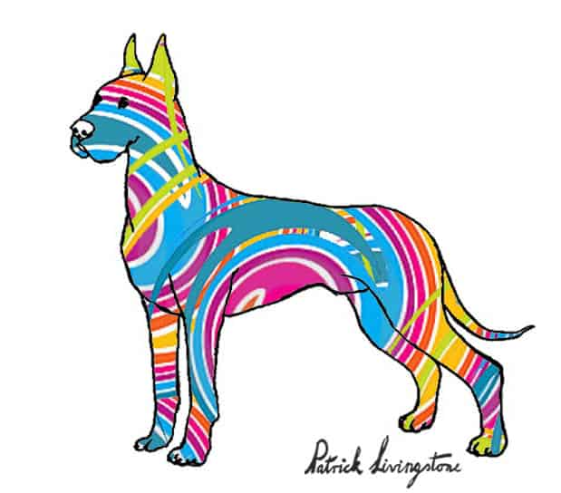 Great dane drawing colored stripes