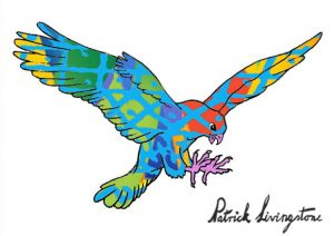 Hawk Attacking drawing colored