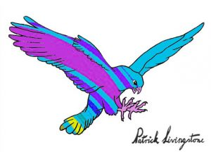 Hawk Attacking drawing colored 1
