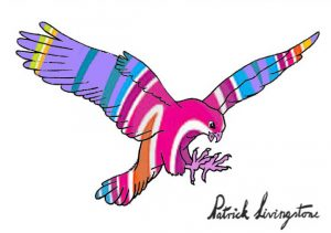 Hawk Attacking drawing colored 10