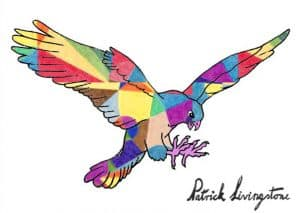 Hawk Attacking drawing colored 11