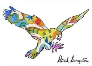 Hawk Attacking drawing colored 12
