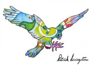 Hawk Attacking drawing colored 13
