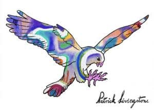 Hawk Attacking drawing colored 14