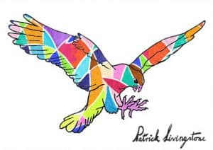 Hawk Attacking drawing colored 16