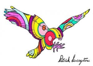 Hawk Attacking drawing colored 17