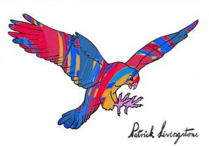 Hawk Attacking drawing colored 3