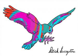 Hawk Attacking drawing colored 4
