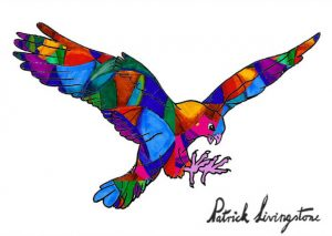 Hawk Attacking drawing colored 7