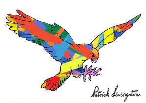 Hawk Attacking drawing colored 9