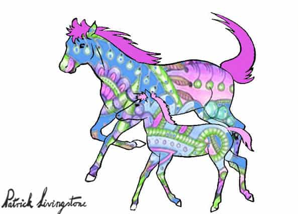Horse and foal drawing colored a