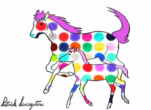 Horse and foal drawing colored d