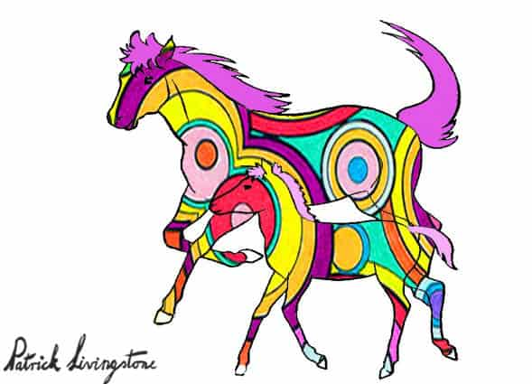 Horse and foal drawing colored e