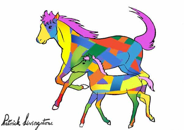 Horse and foal drawing colored p