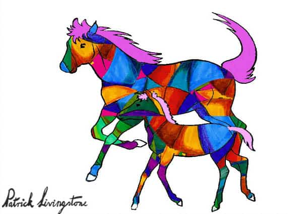 Horse and foal drawing colored s