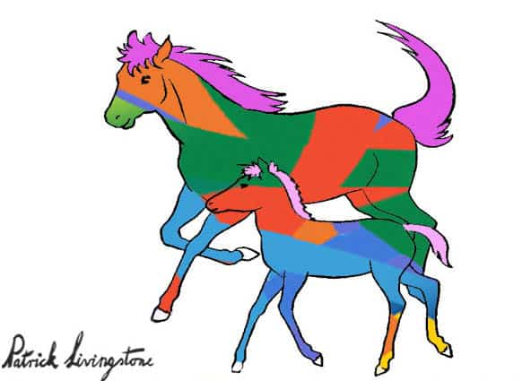Horse and foal drawing colored t