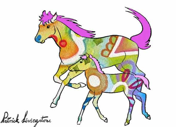 Horse and foal drawing colored u