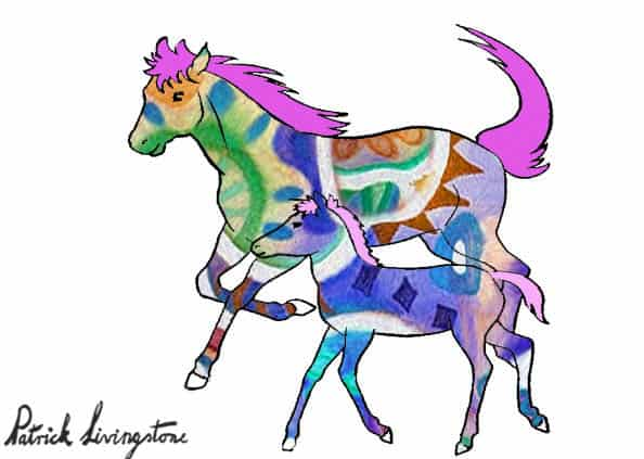 Horse and foal drawing colored y