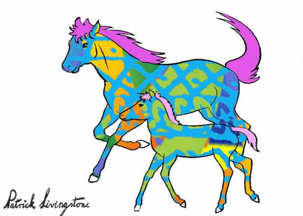 Horse and foal drawing colored z