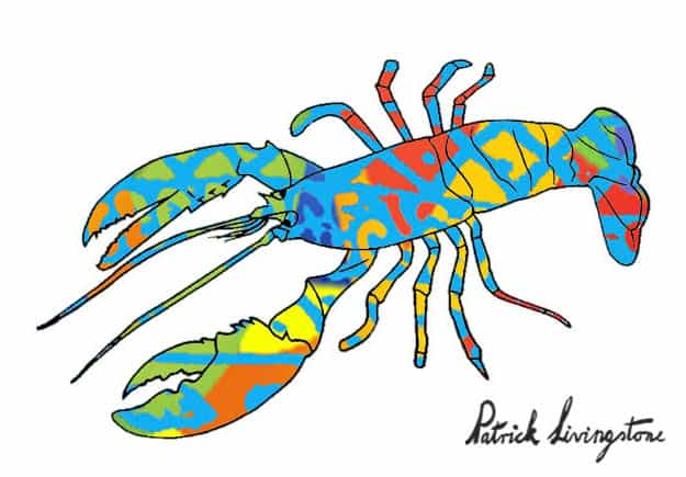 Lobster drawing colored