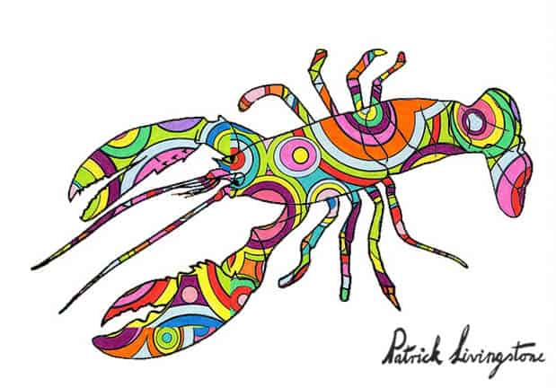 Lobster drawing colored d