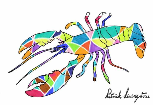 Lobster drawing colored e