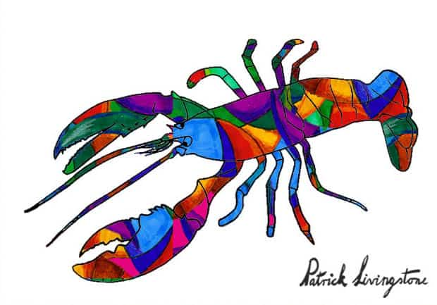 Lobster drawing colored f