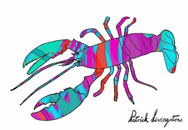 Lobster drawing colored h