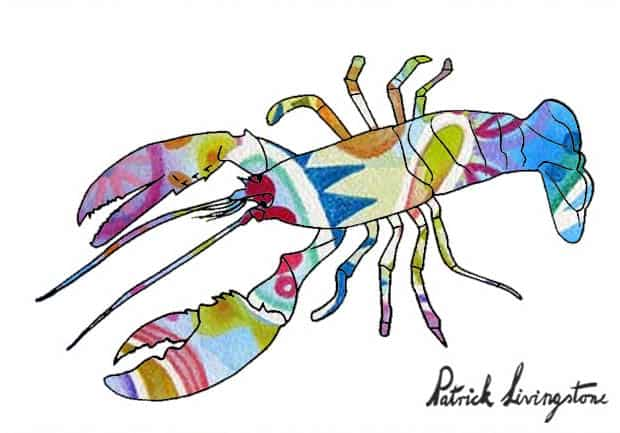 Lobster drawing colored o