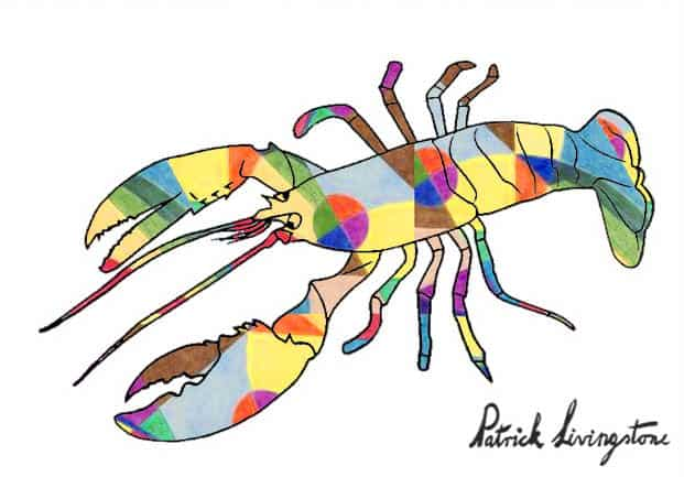 Lobster drawing colored p