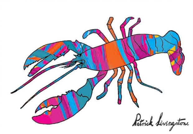 Lobster drawing colored r