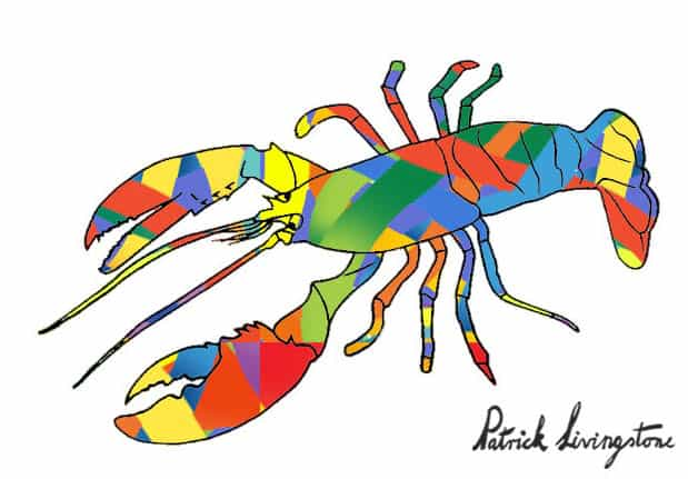 Lobster drawing colored s