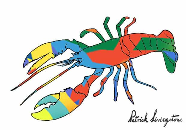 Lobster drawing colored t