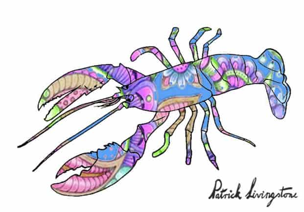 Lobster drawing colored u