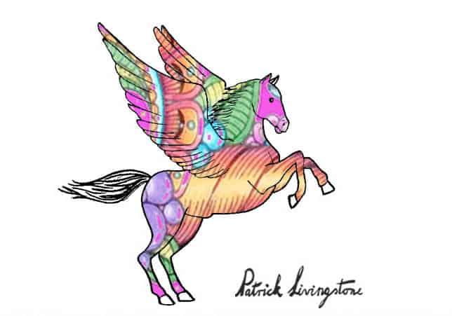 Pegasus drawing colored a