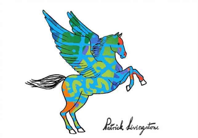 Pegasus drawing colored b