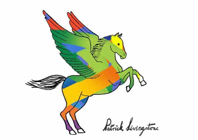 Pegasus drawing colored e