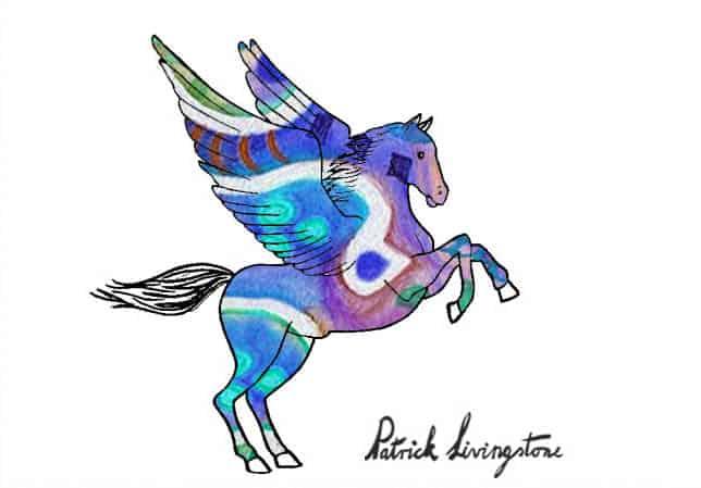 Pegasus drawing colored f