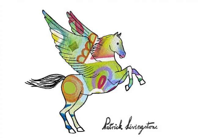 Pegasus drawing colored h