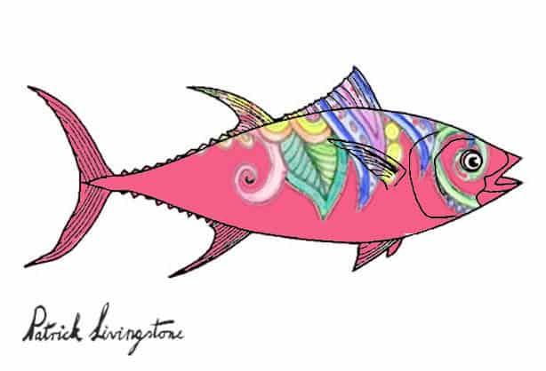 Tuna fish drawing colored a