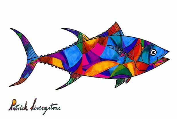 Tuna fish drawing colored d