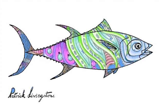 Tuna fish drawing colored e