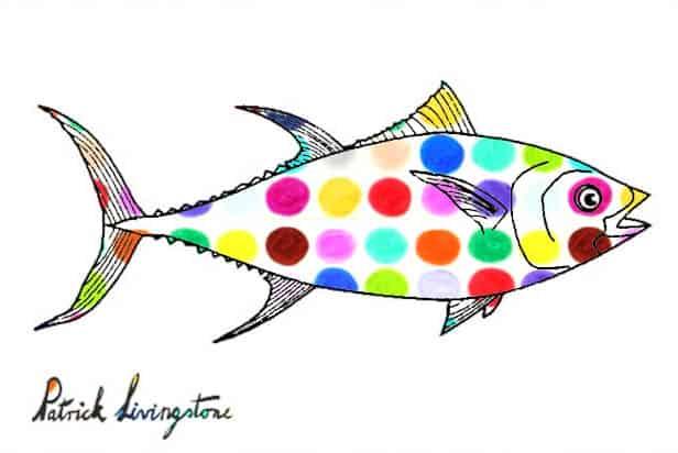 Tuna fish drawing colored f