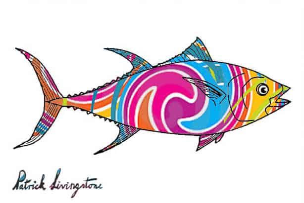 Tuna fish drawing colored g