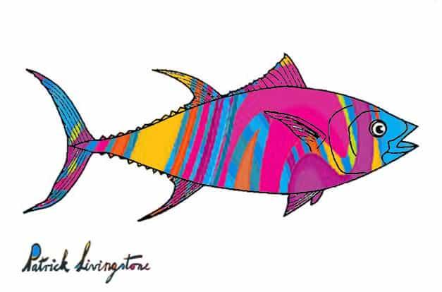 Tuna fish drawing colored j